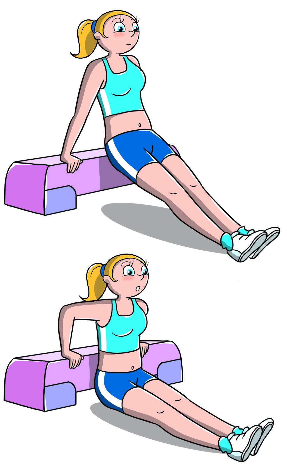 allenamento con lo step tricipiti