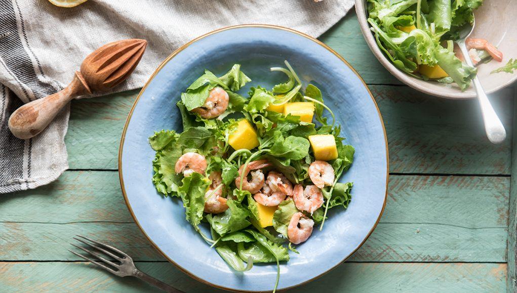 mango: insalata di gamberetti e mango