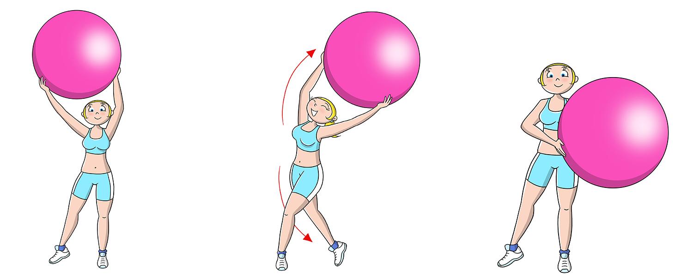 palla fitness esercizio per tonificare le braccia