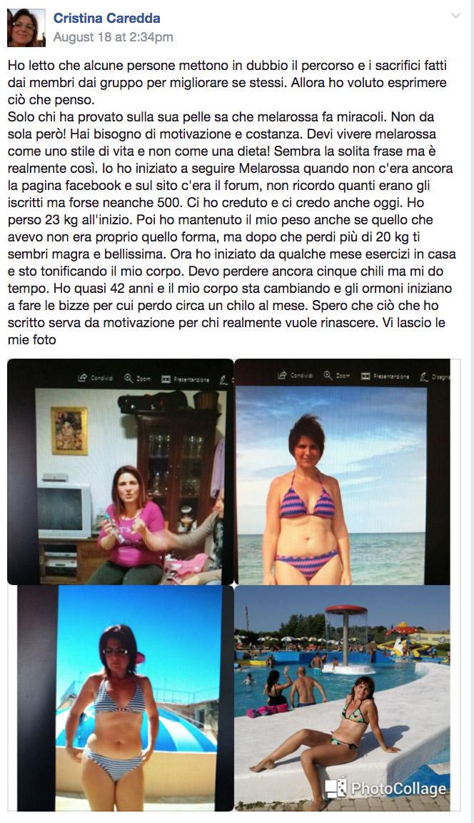 dieta melarossa cristina 23 kg post facebook