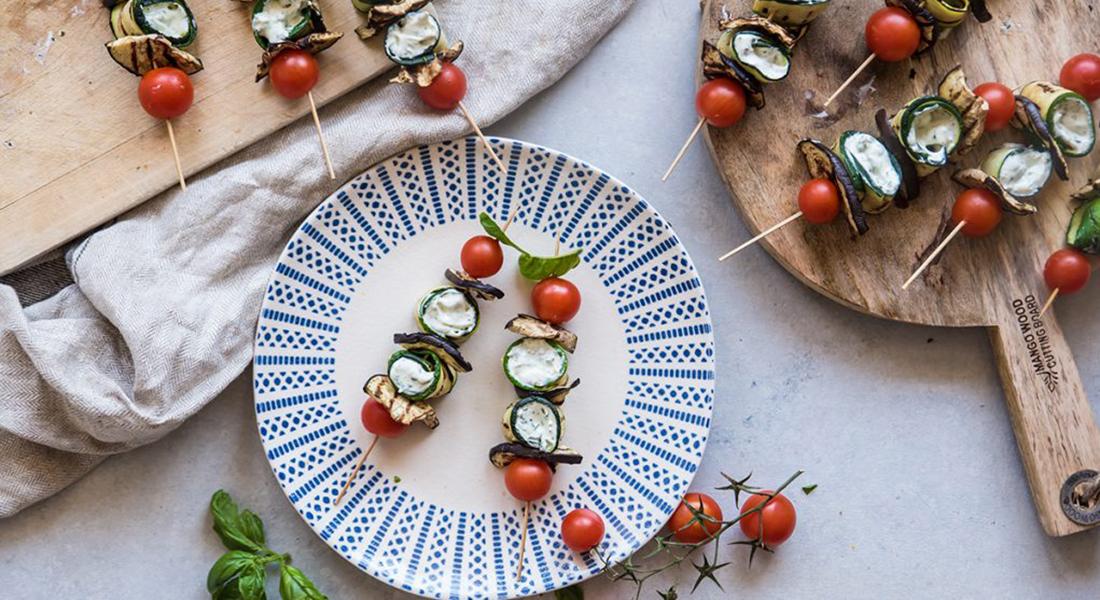 ricetta di spiedini alle verdure e crema di formaggio