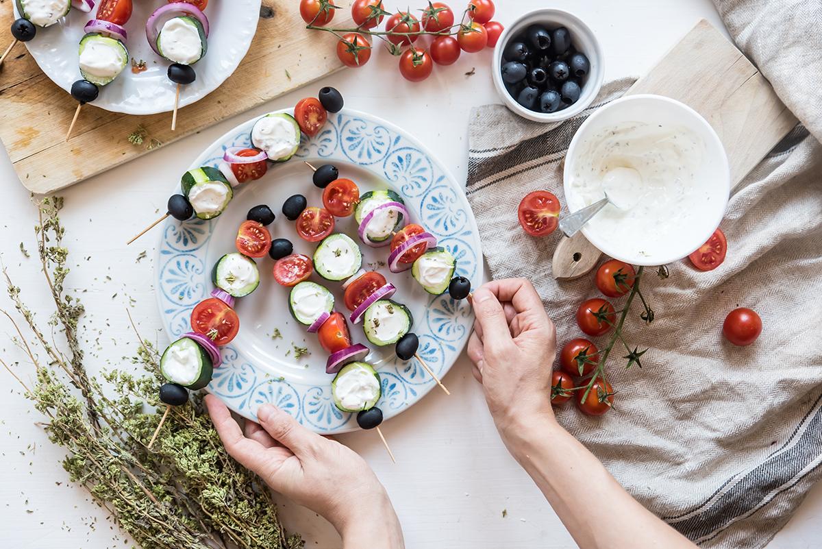 spiedini alla greca: la ricetta vegetariana