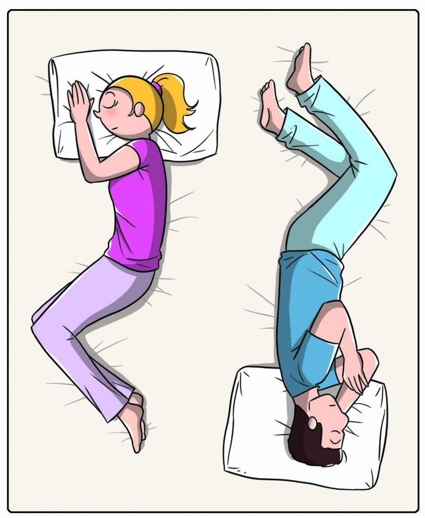 Come dormi in coppia: testa-piedi