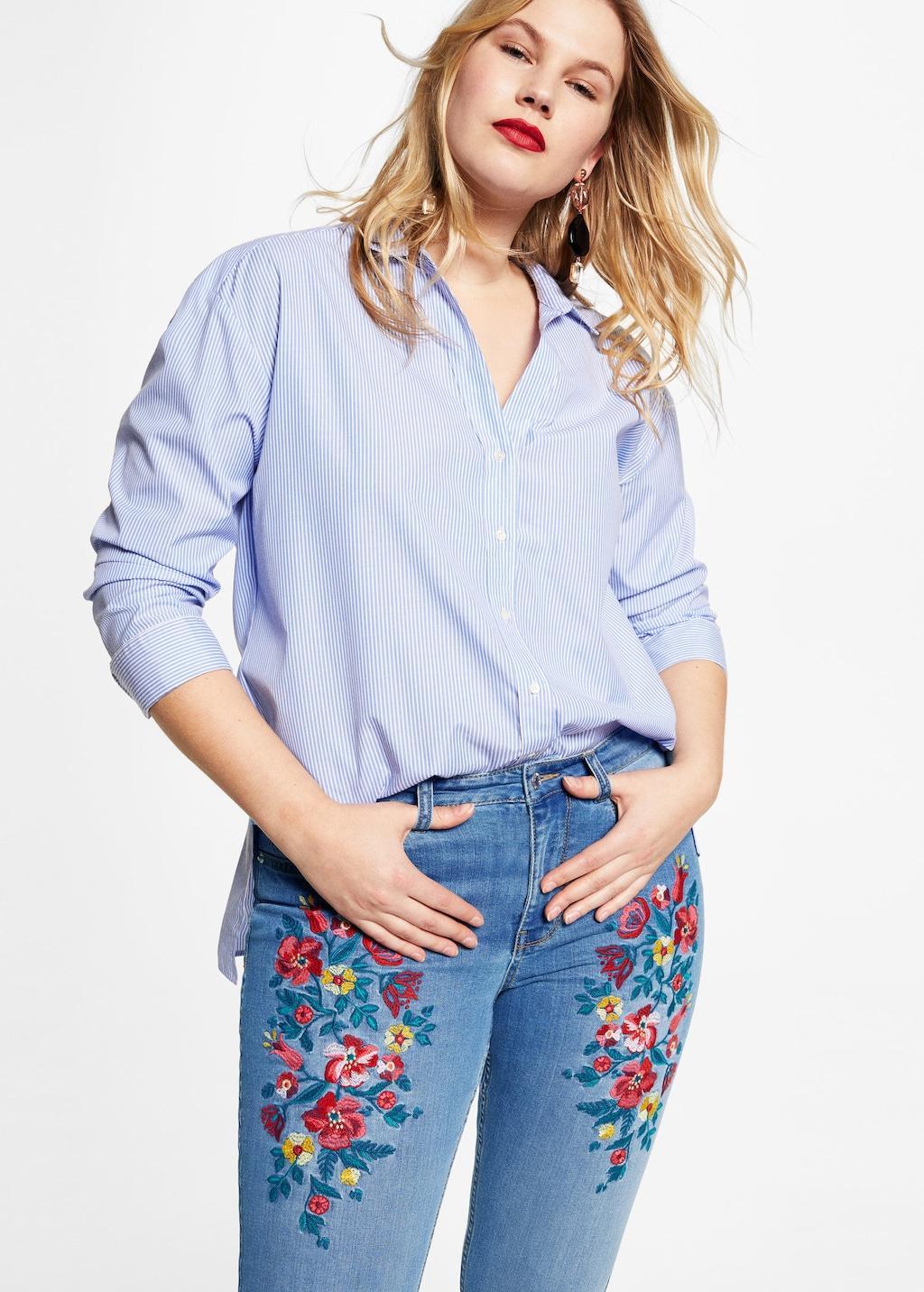 jeans super slim con ricami