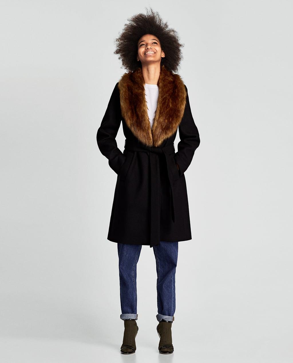 Cappotto collo effetto finto pelo Zara