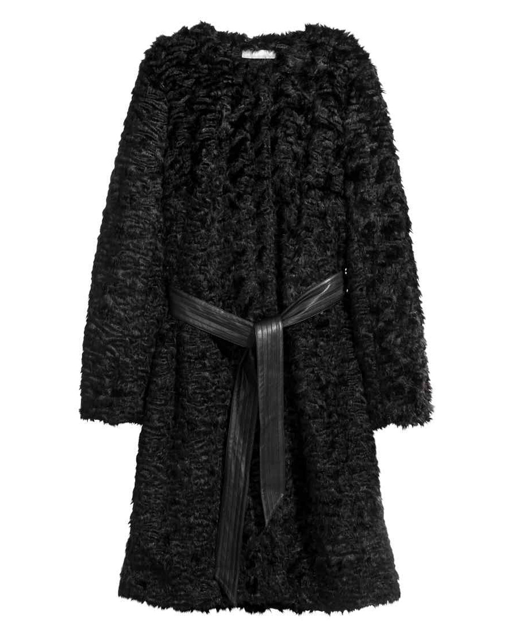 Cappotto corto in pelliccia sintetica con cintura in finta pelle h&m