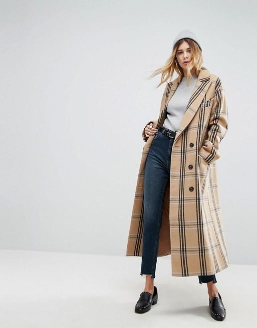 Cappotto in lana a quadri Asos