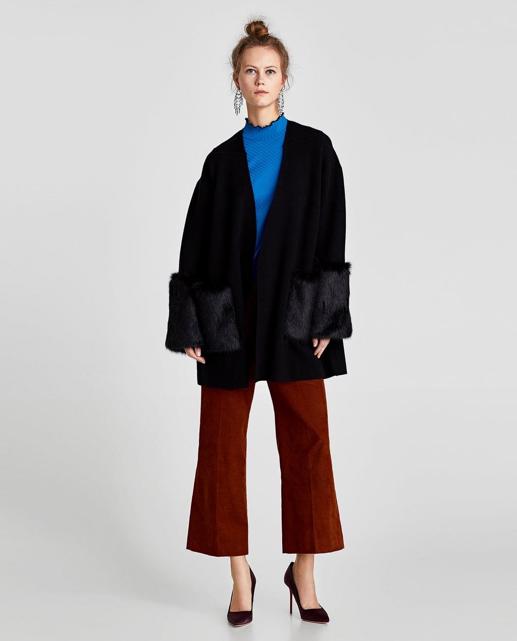 Cappotto maglia pelliccia sintetica abbinata Zara