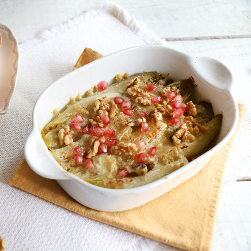 La ricetta dell'indivia gratinata al forno light e senza gltuine.