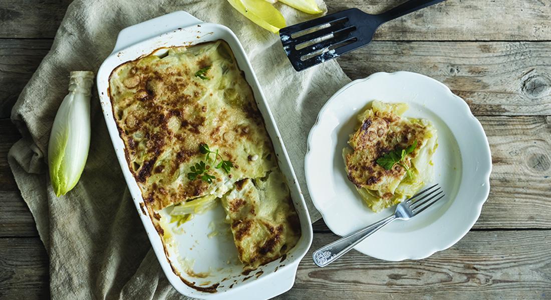 Indivia belga e patate al gratin: la ricetta light