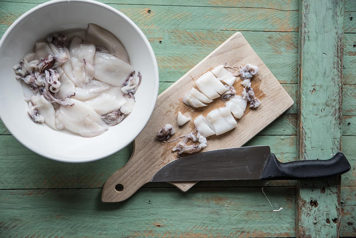 lasagne di mare calamari a rondelle