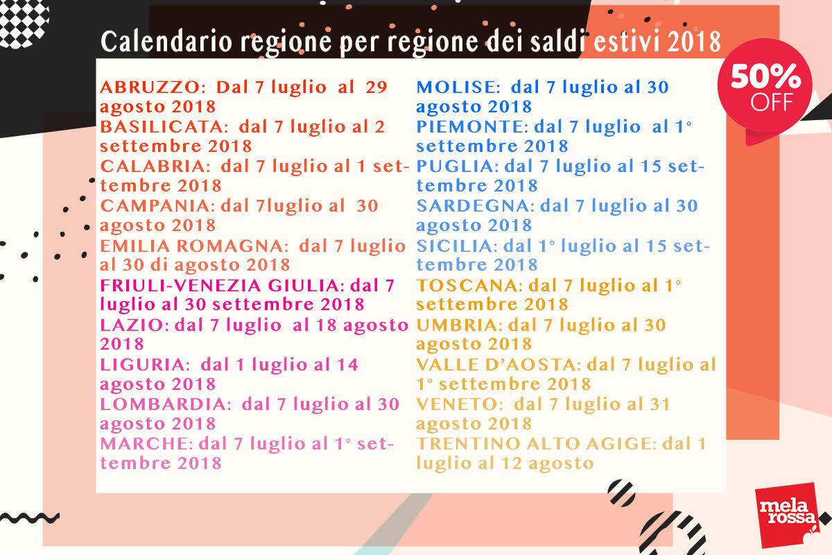 saldi estivi 2018: calendario regione per regione