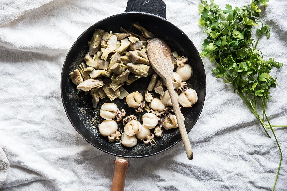 seppie e carciofi in insalata