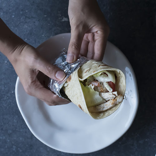 piadina con pollo o chicken wrap