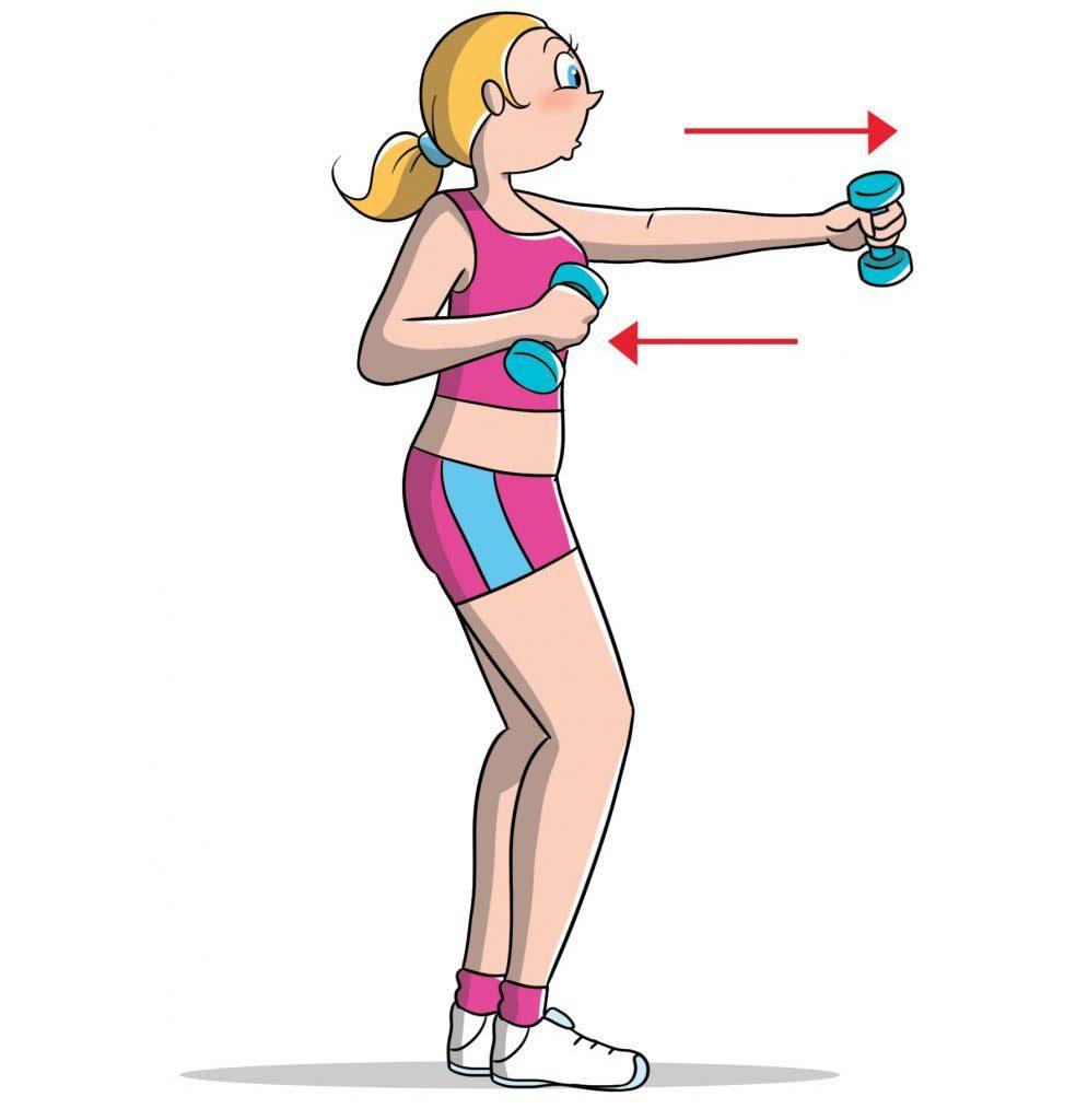 esercizi per le braccia: pugile con i pesi