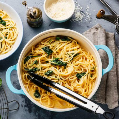 spaghetti integrali e spinaci