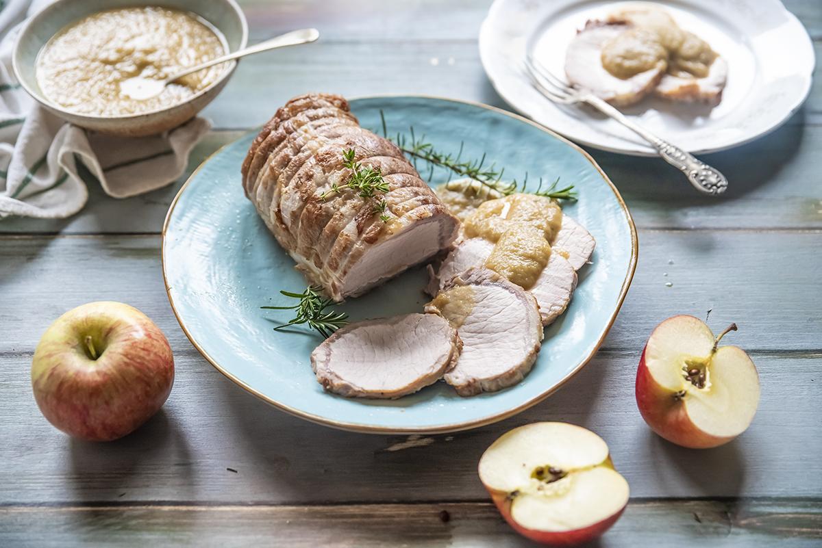 Ricette con le mele: arista di maiale con mele