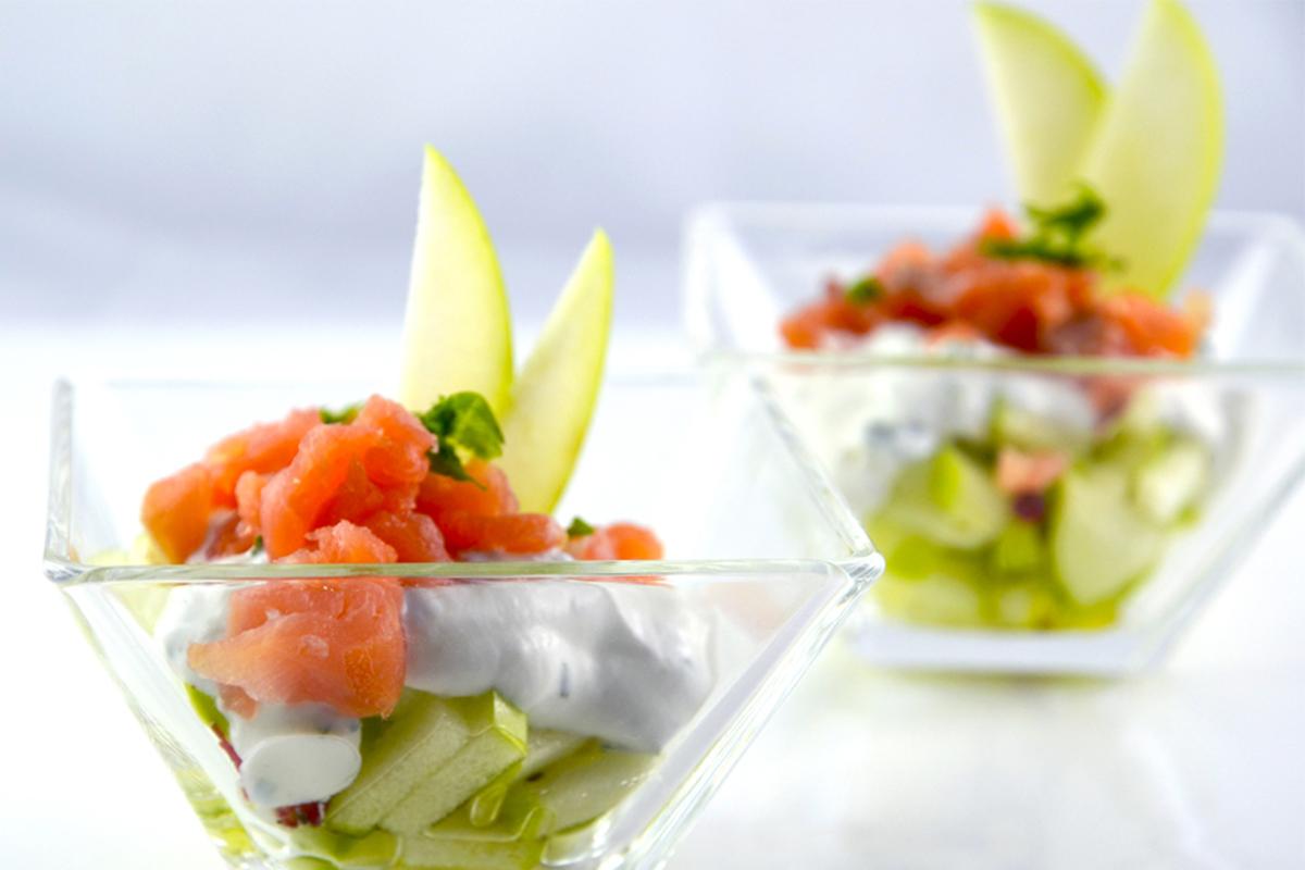 Ricette con le mele: tartare di salmone affumicato e mela verde