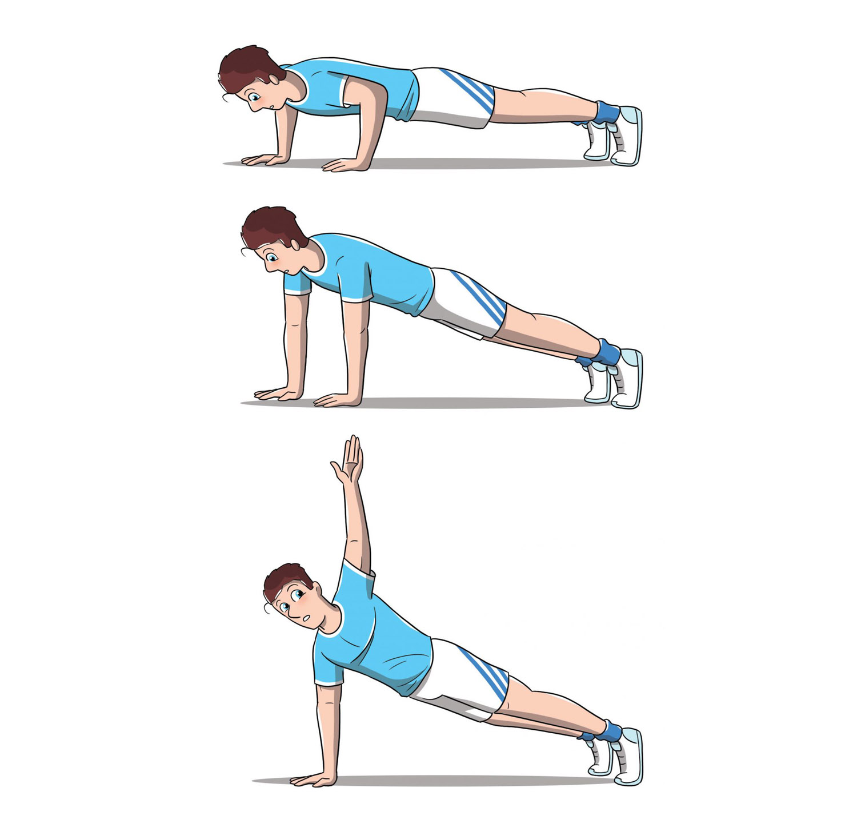 allenamento 12 esercizi 7 minuti push up rotation