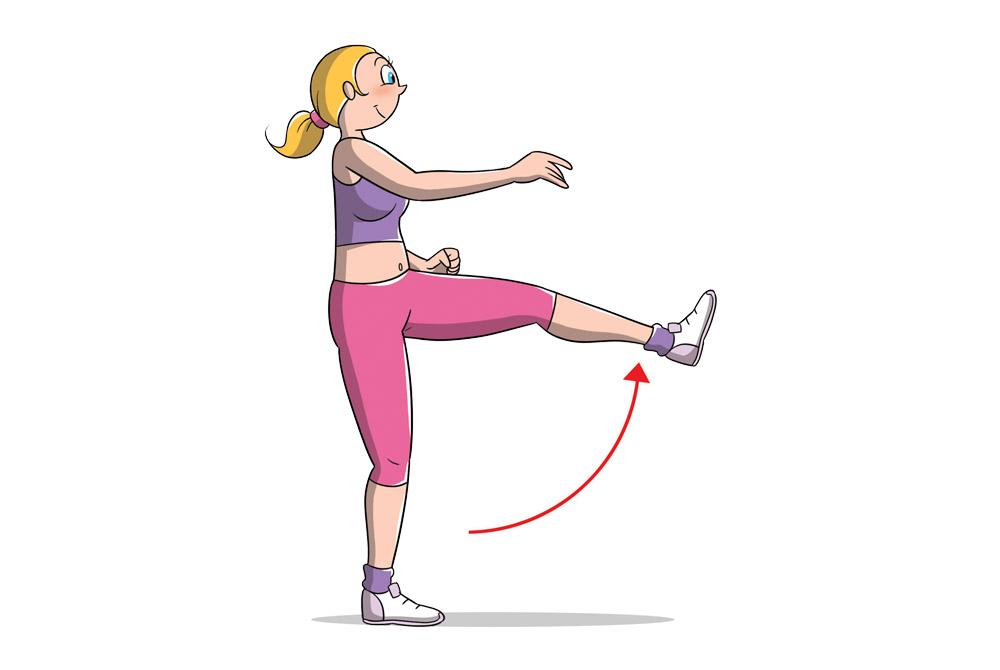 stertching dinamico: slanci gambe