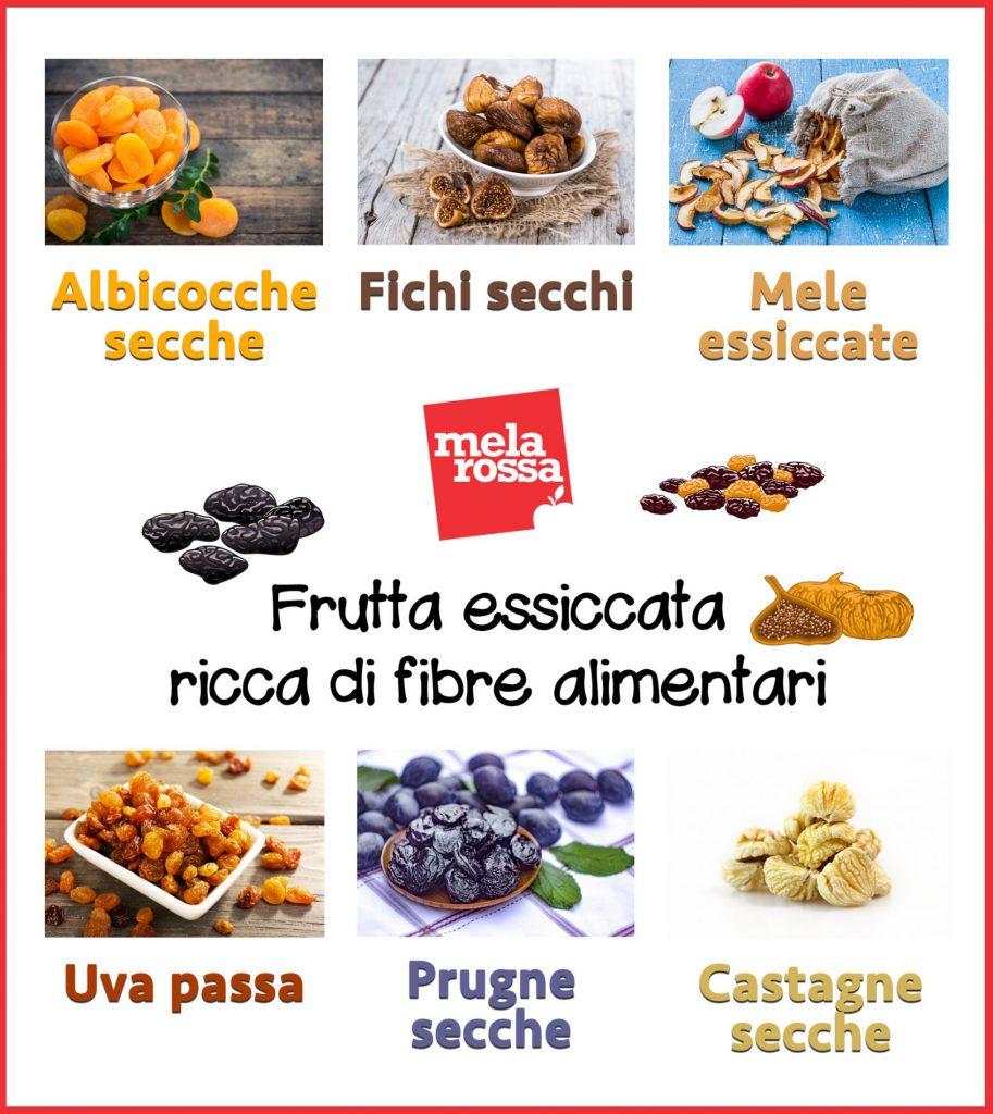 frutta essiccata ricca di fibre alimentari