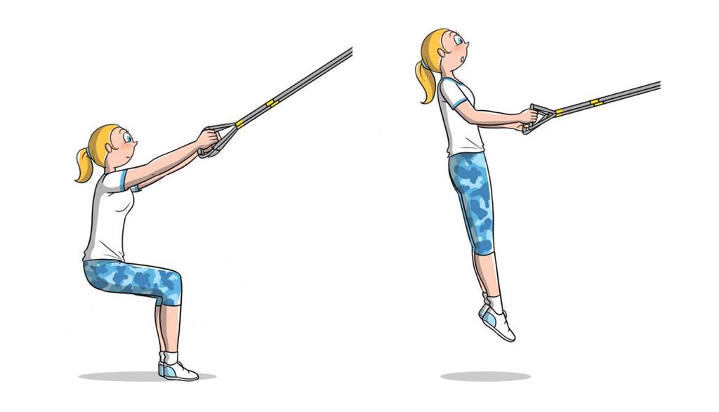 TRX: squat jump