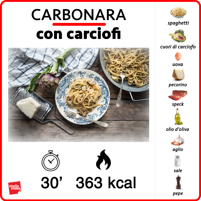 Carbonara con i carciofi: ricetta light