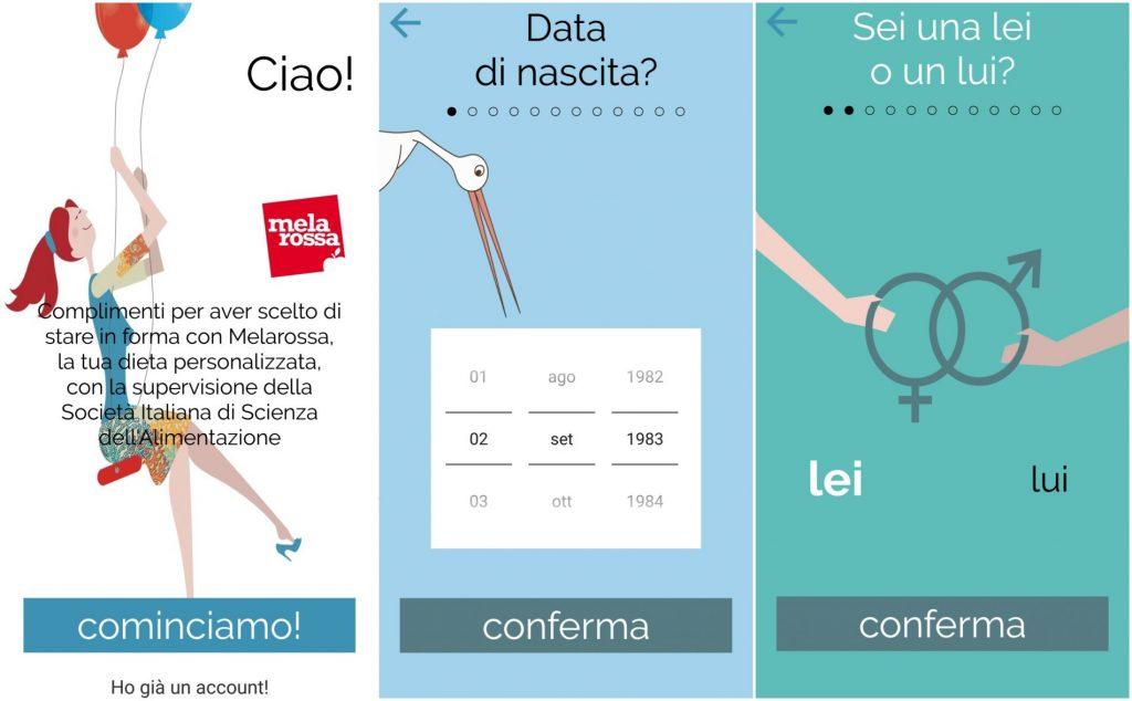 app melarossa, step 1