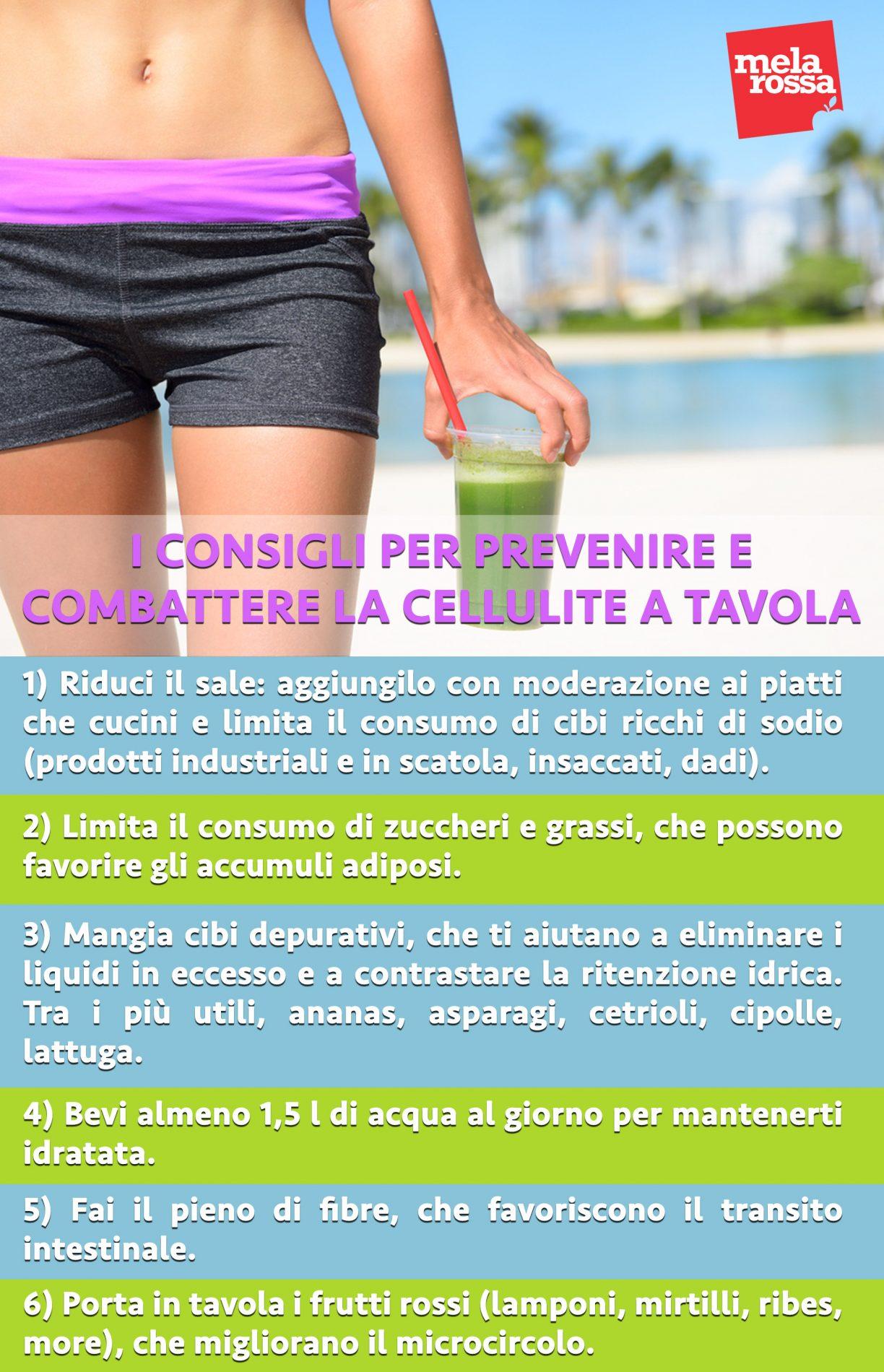 dieta anticellulite: consigli per combatterla a tavola- infografica