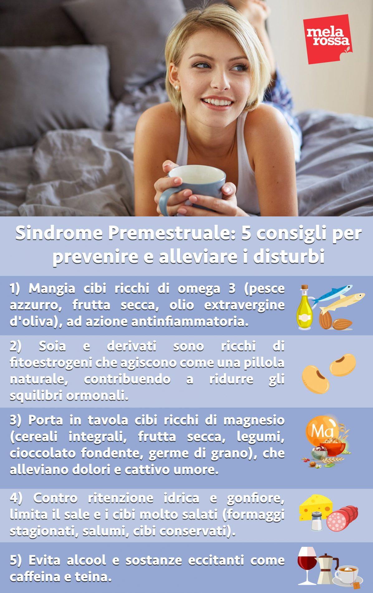 sindrome premestruale consigli alleviare prevenire disturbi