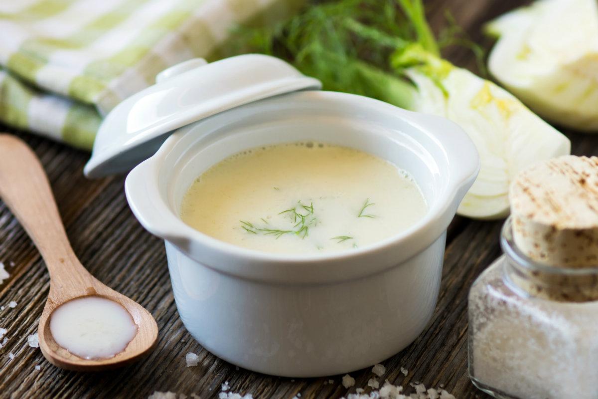 ricette con finocchi, zuppa di finocchi con bocconcini di soia
