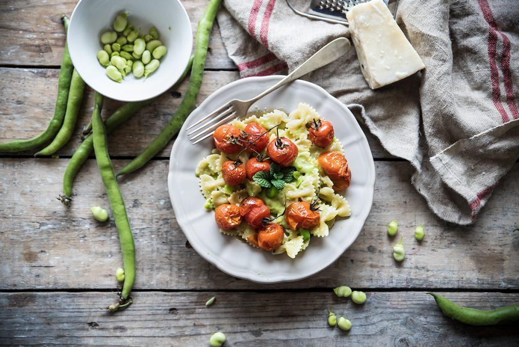 ricette con le fave pasta con crema di fave e pomodorini