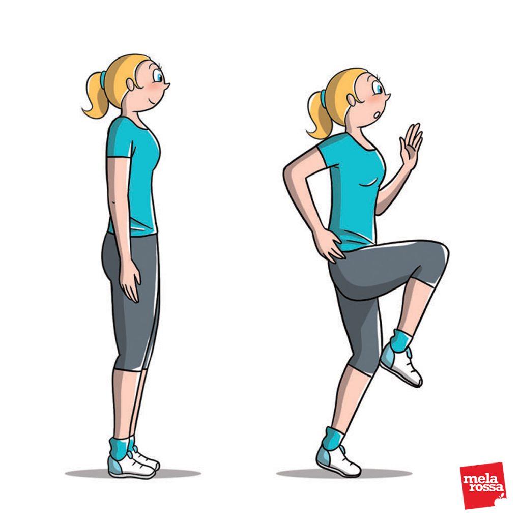 bruciare calorie: corsa sul posto