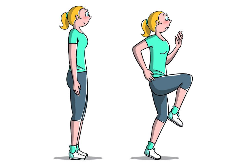 esercizi pliometrici: corsa sul posto