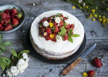 pan di Spagna fragole e crema di yogurt