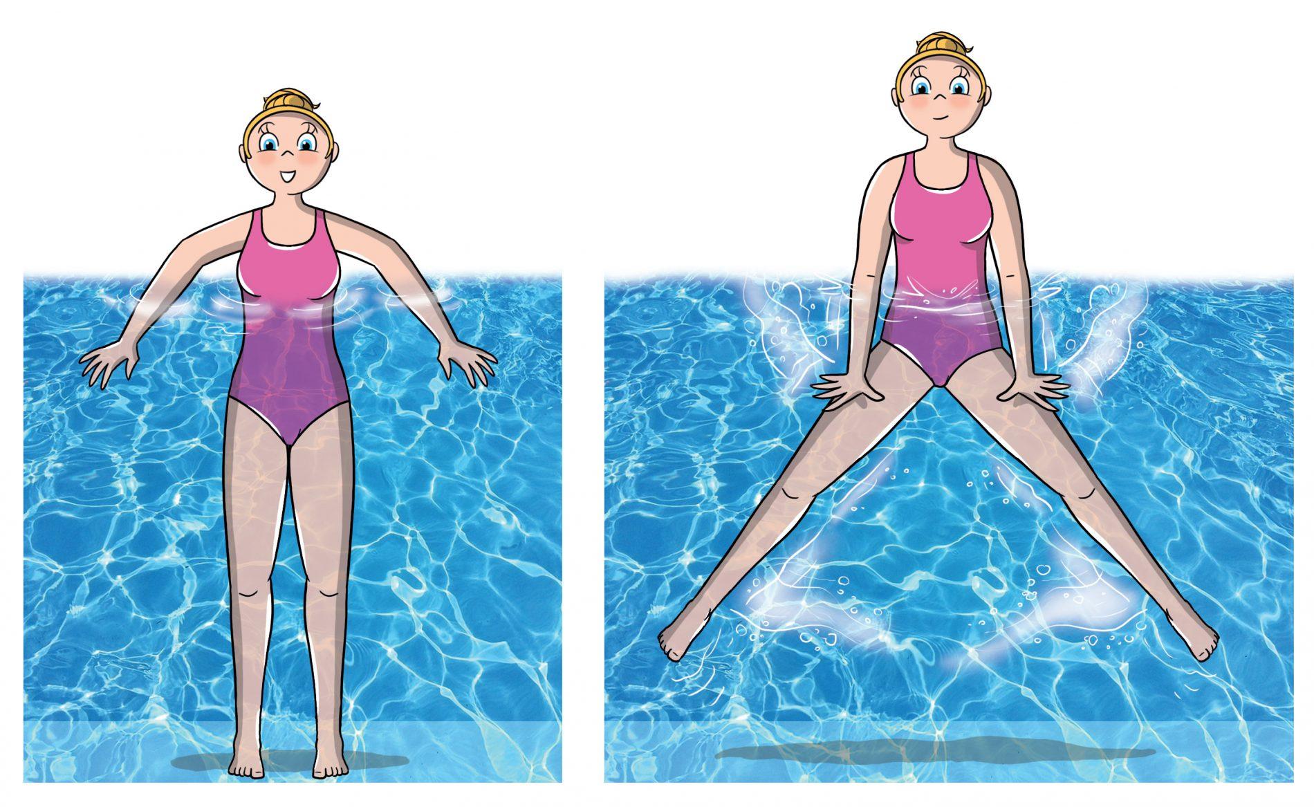Ginnastica in acqua: illustrazioni