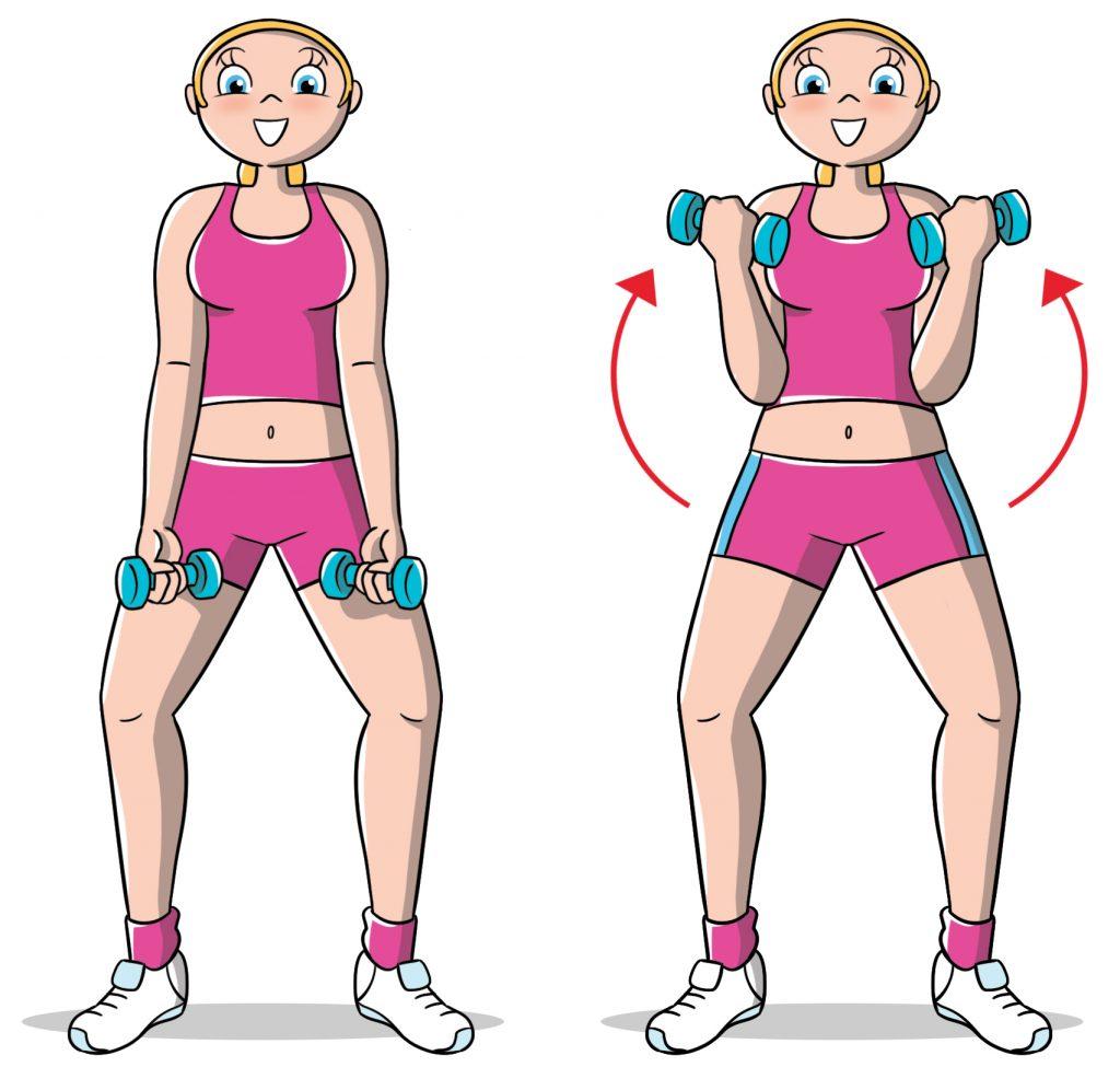 esercizi per le braccia: curl
