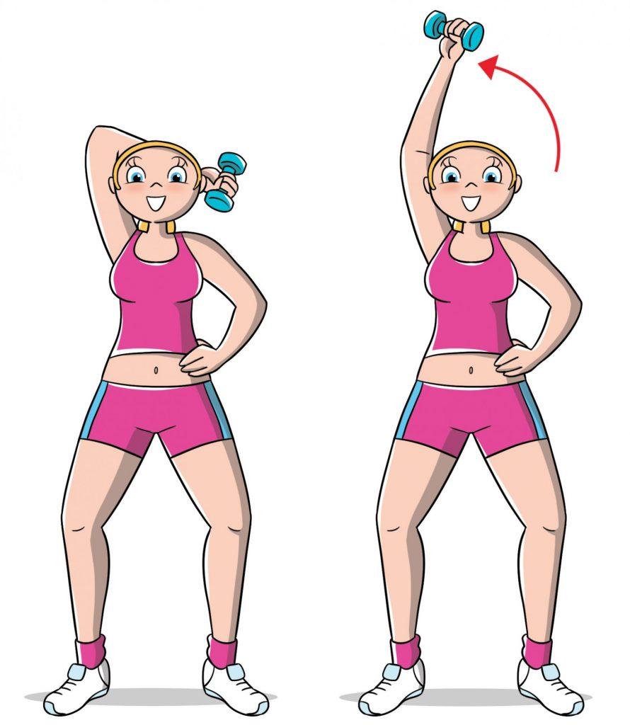 esercizi per le braccia: french press