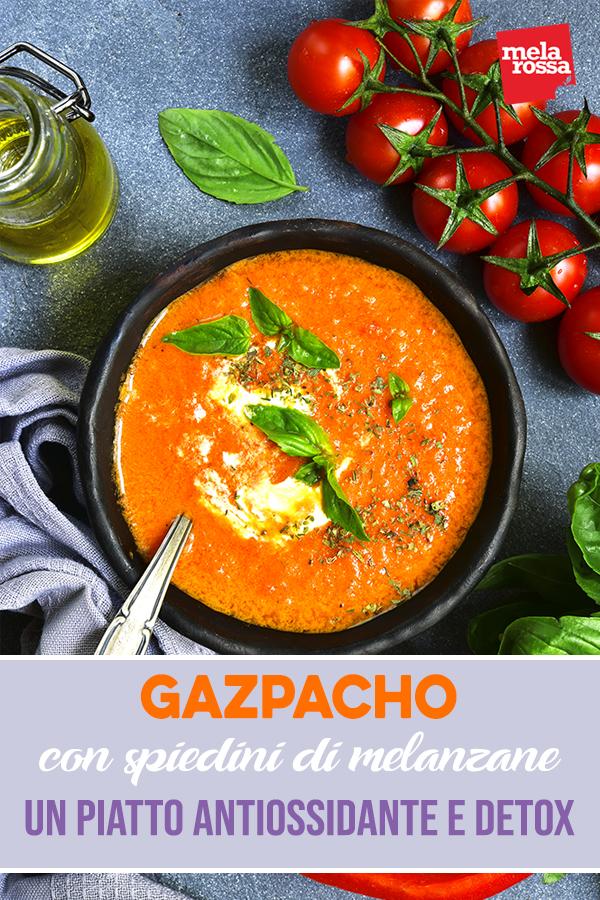 gazpacho con spiedini di melanzane