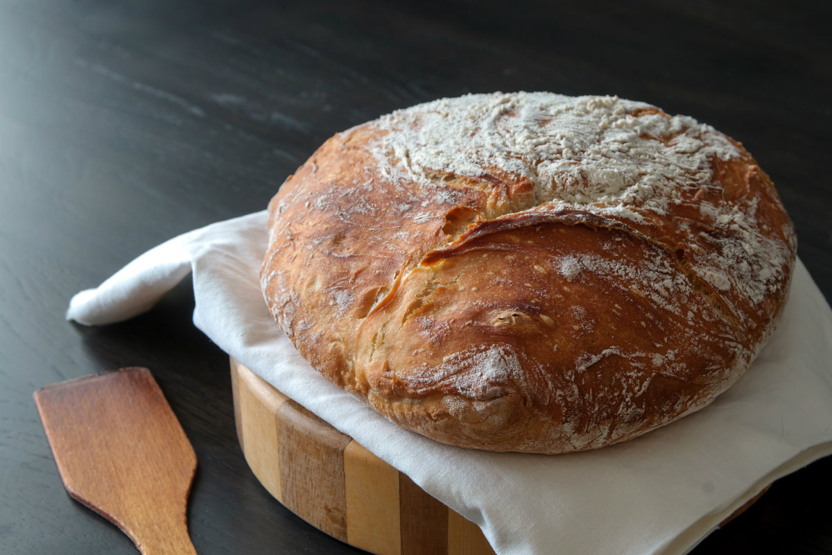 pane fatto in casa, no knead bread