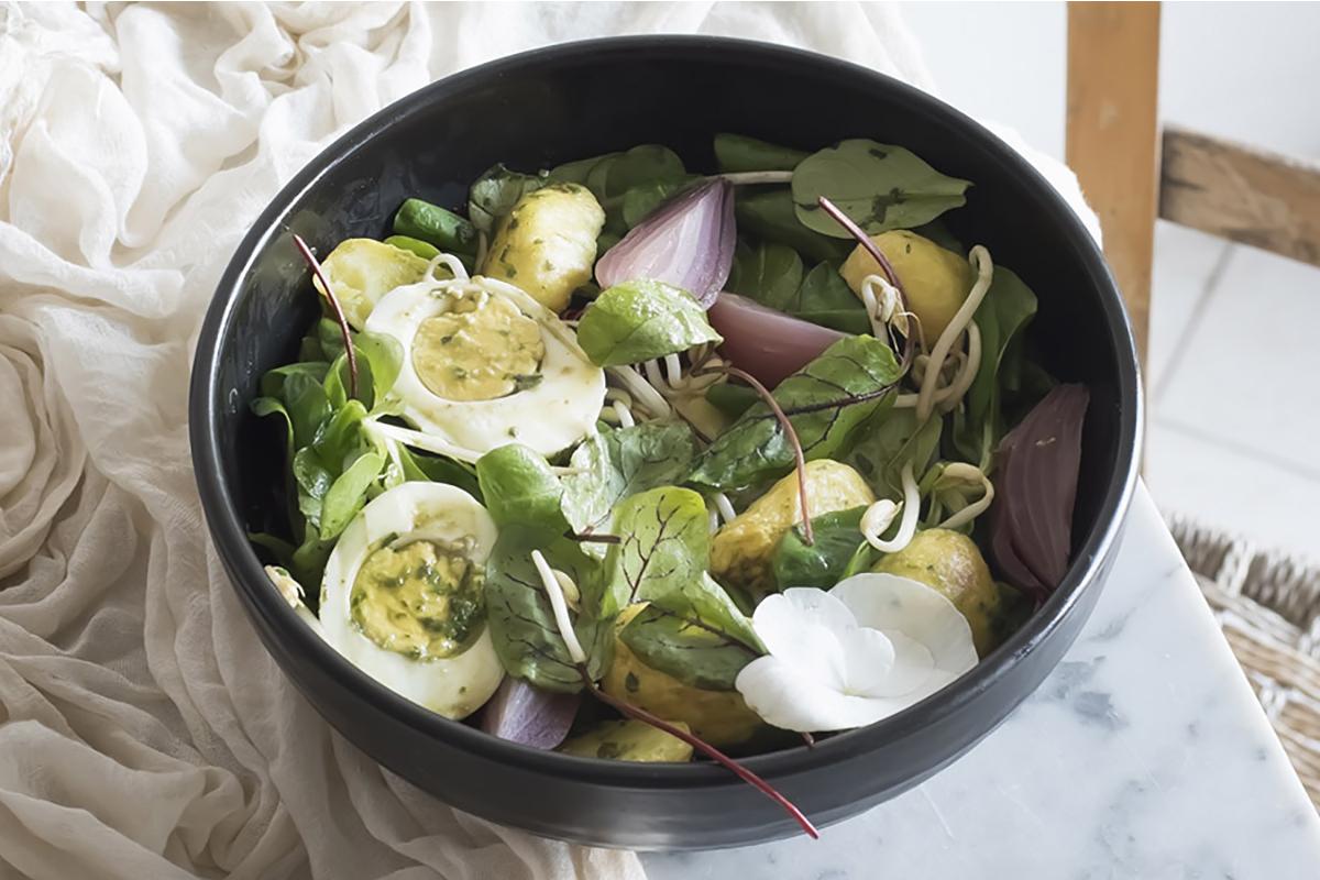 ricette con uova: insalata ai germogli di soia, cipolle rosse, patate novelle e uova