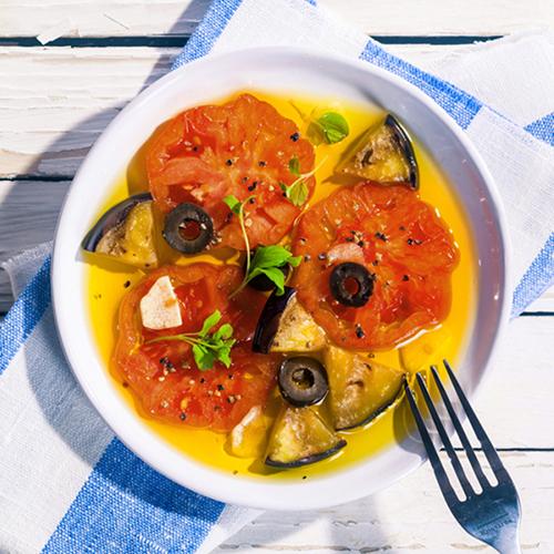 insalata di melanzane e pomodori