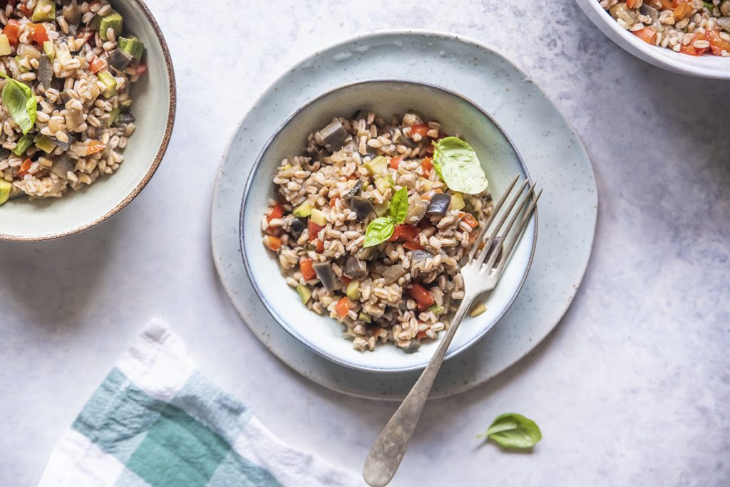ricette con farro insalata di farro con melanzane, zucchine e peperoni al basilico