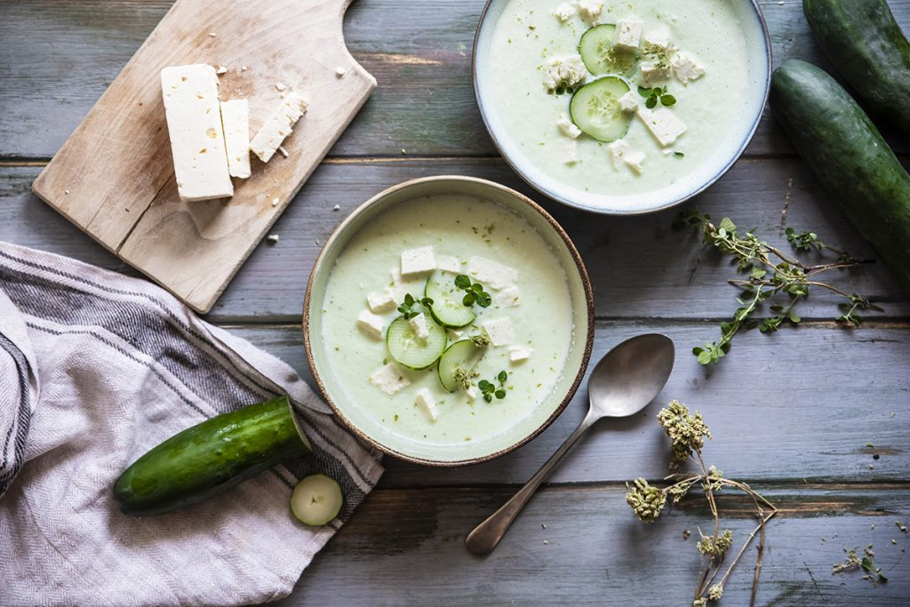 zuppa fredda cetrioli feta