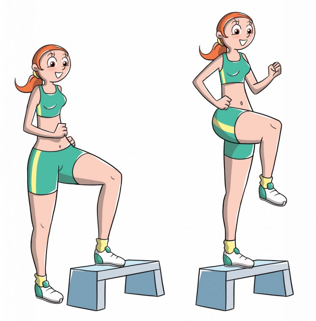 come dimagrire le gambe: step knee up