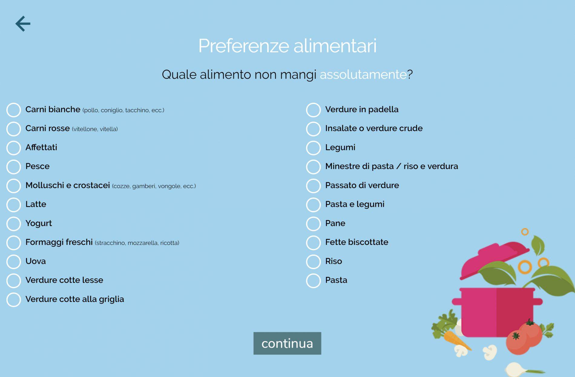 dieta melarossa iscrizione: preferenze alimentari