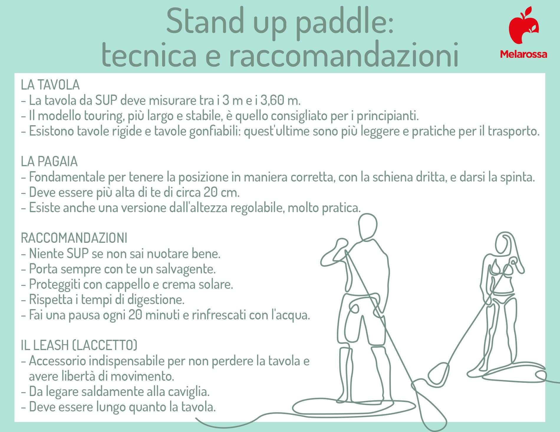 stand up paddle tecnica e raccomandazioni