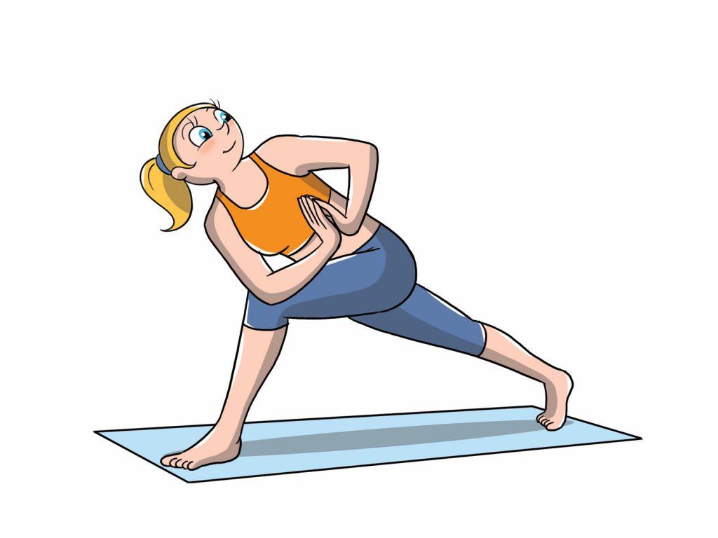 posizioni yoga livello avanzato: affondi con torsione