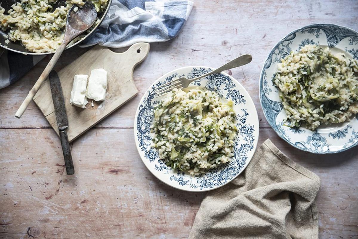 Ricette con riso: risotto scarola e stracchino