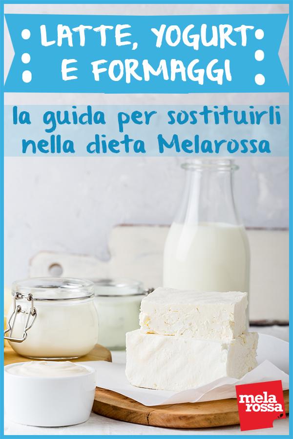 sostituzione melarossa: gruppo alimentare formaggi, latte e latticini